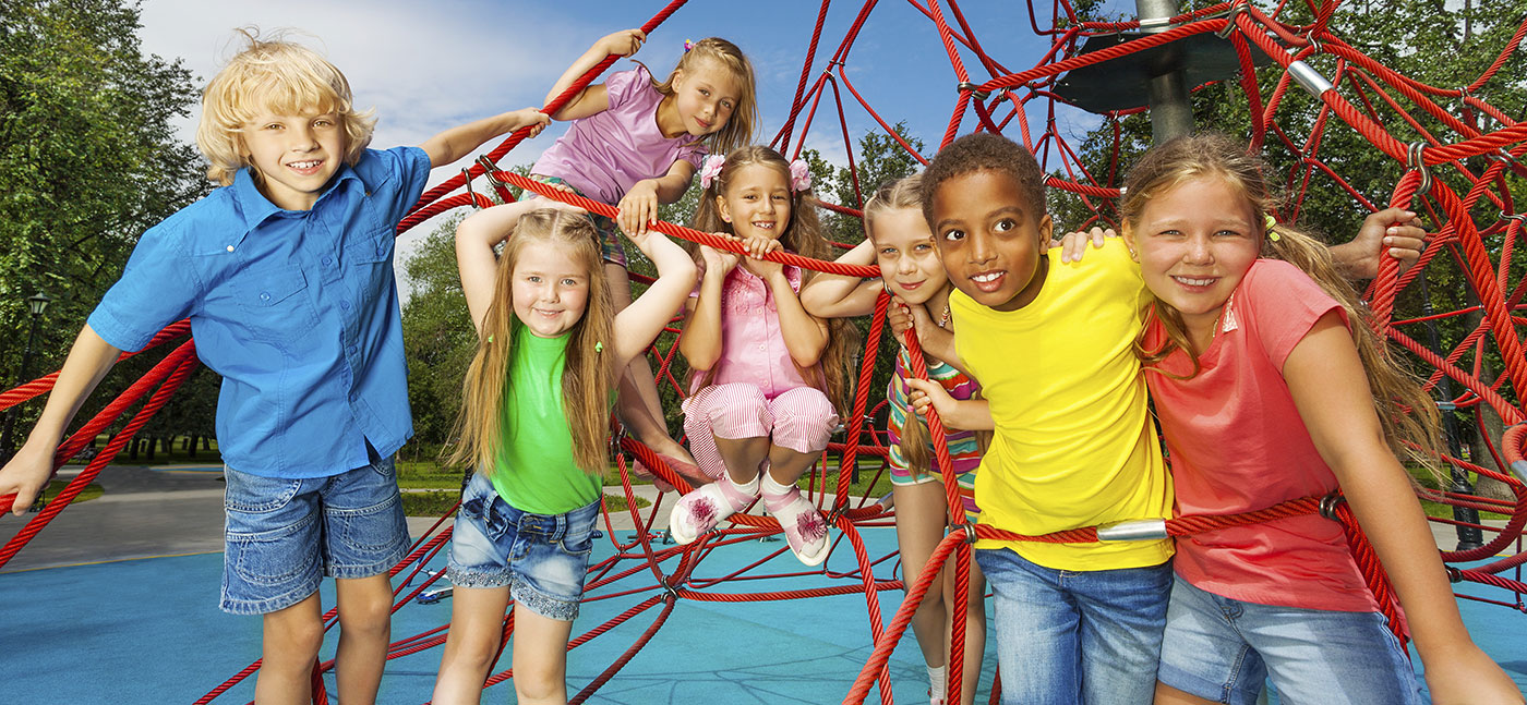 Children playing on the jungle gym